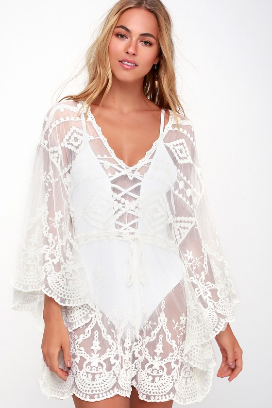 Sexy White Swim Cover Up Crochet Lace Cover Up