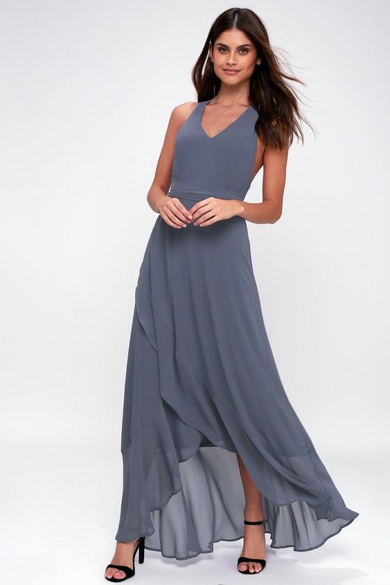 2fbdf4562aa2 Chic Denim Blue Dress - Convertible Dress - High-Low Dress