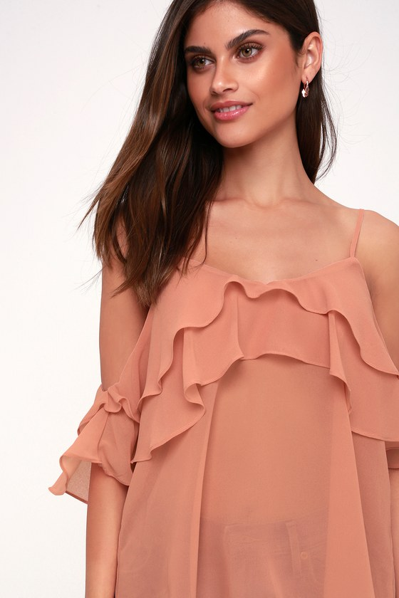 Self Esteem Sheer Mauve Pink Off The Shoulder Top by Lulus