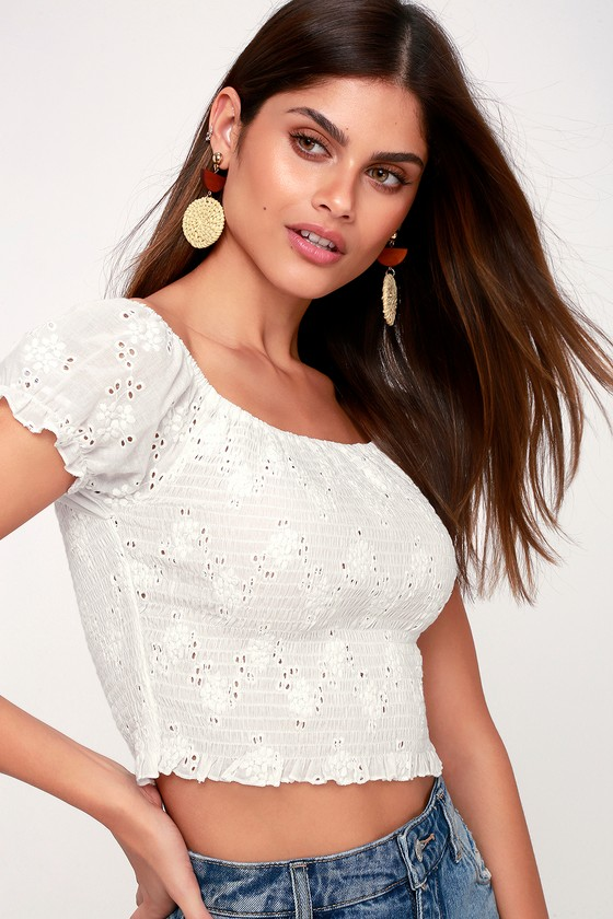 One Kiss White Smocked Eyelet Off The Shoulder Crop Top by Lulus