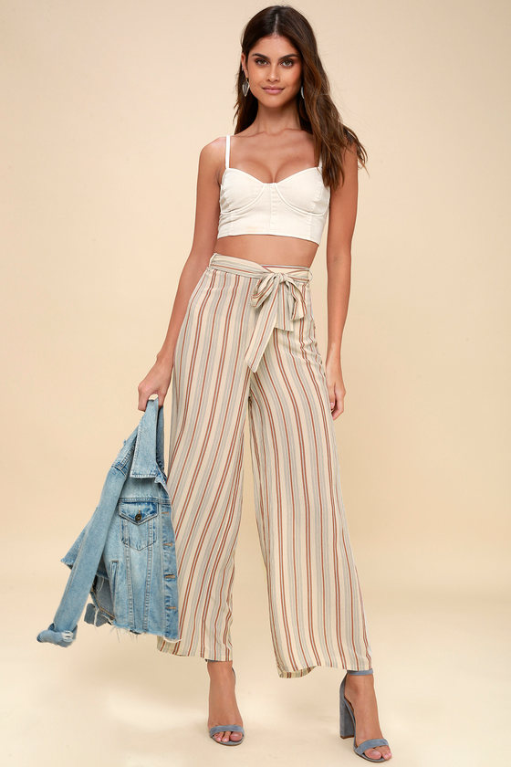 60a110b78a71f2 Amuse Society Even Tides - Beige Striped Culottes - Pants