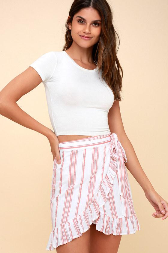 338934ae63 Cute Wrap Skirt - Ruffled Mini Skirt - Peach Striped Skirt
