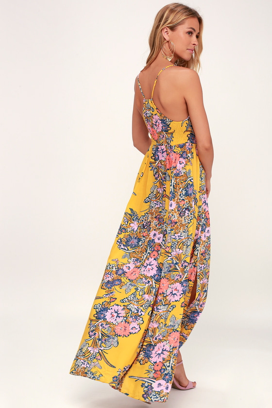 Free People Through the Vine - Yellow Floral Print Maxi a1a99d9ae8