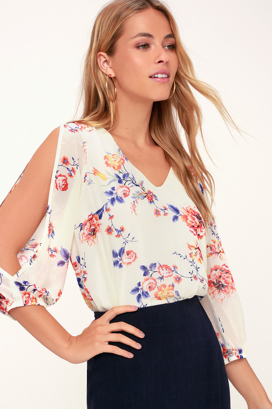 ee86be92d54 Cream Floral Print Top - Long Sleeve Top - Cold Shoulder Top