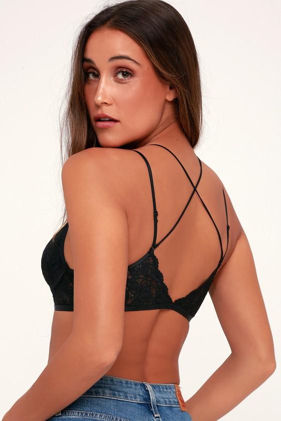 1572170e98 Sexy Black Bralette - Strappy Bralette - Lace Bralette