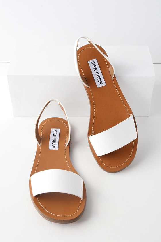 3c698eb334c Steve Madden Alina - White Sandals - Flat Sandals