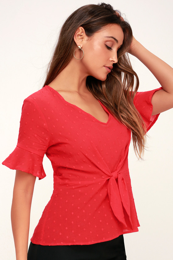 Yes Indeed Red Flounce Sleeve Tie Front Top by Lush