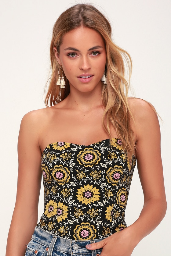 0a205f210f2e Free People Daisy Chain - Black Floral Print Tube Top
