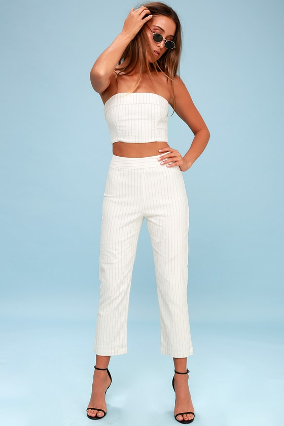 Daria Cream Pinstripe Cropped Pants by 4 Si3 Nna