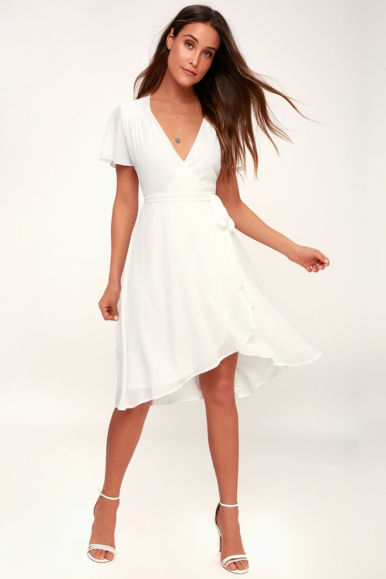 Rise to the Occasion White Midi Wrap Dress - Lulus