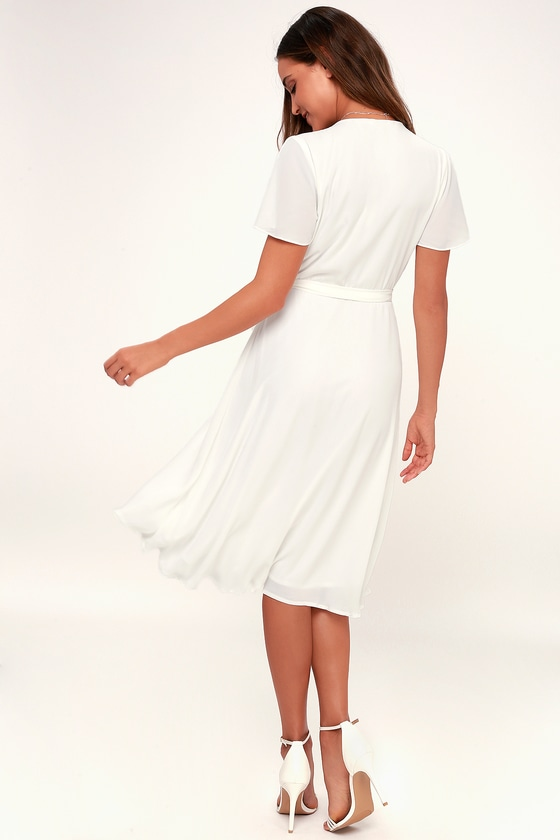 f88374157adb2 Lovely White Wrap Dress - Midi Wrap Dress - Midi Dress - LWD