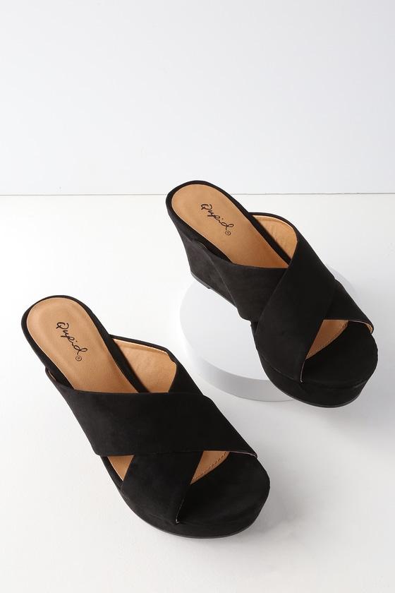 91981768a01 Cute Black Suede Wedges - Wedge Sandals - Platform Wedges