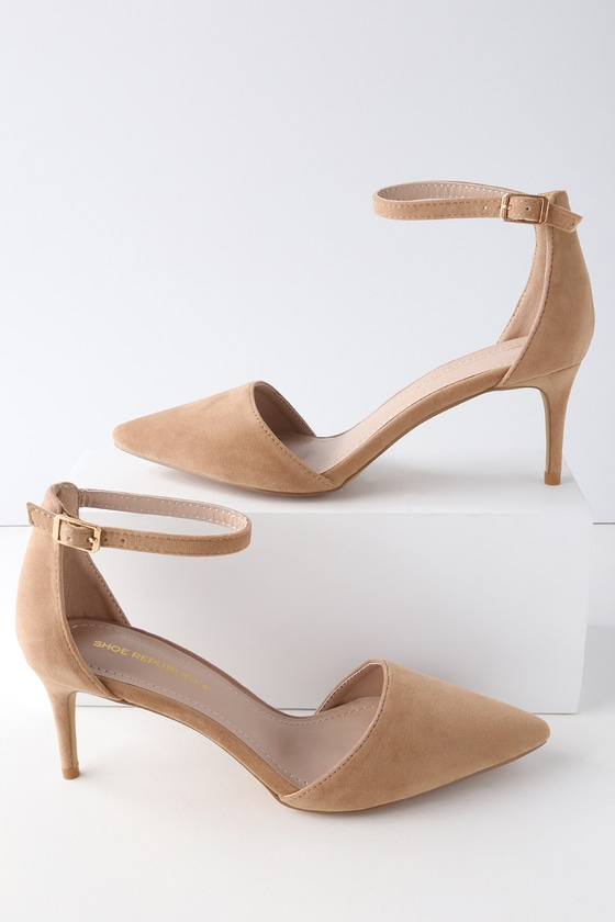Lulus Midge Taupe Suede Pointed Toe Ankle Strap Pumps - Lulus 1p1zZ