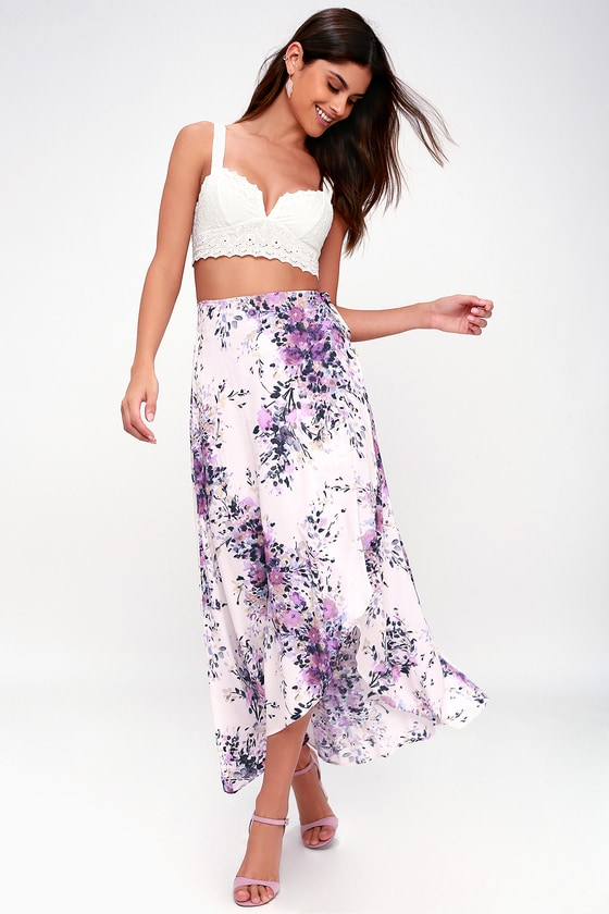 31686bdbb3 Right by Your Side Blush Pink Floral Print Wrap Midi Skirt