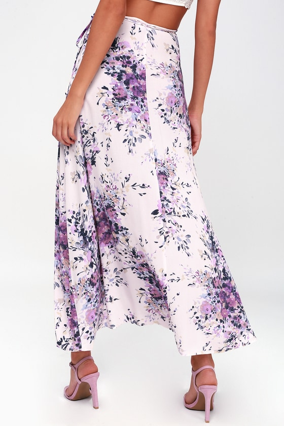 e2f06c1aee48 Right by Your Side Blush Pink Floral Print Wrap Midi Skirt