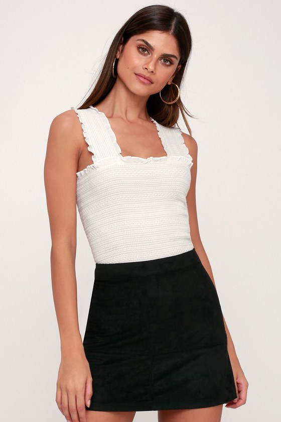 61ee79e9279 Black Skirt - Suede Skirt - Mini Skirt - A-Line Skirt