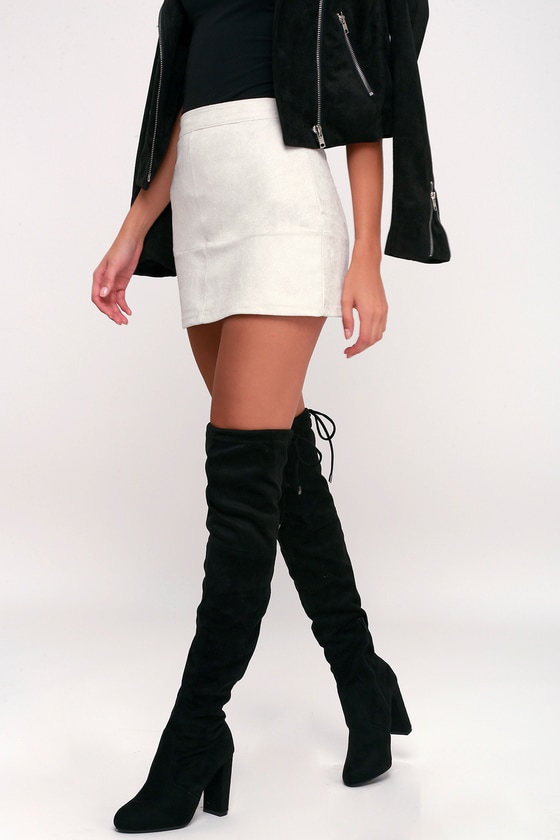 75a2ff82684f Over the Knee Boots - Vegan Suede Boots - High Heel Boots
