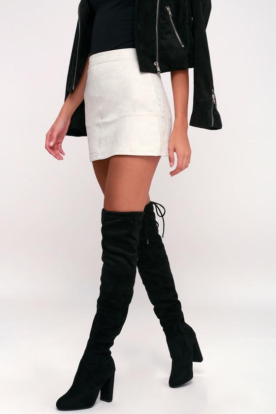 Catwalk Strut Black Suede Over the Knee Boots