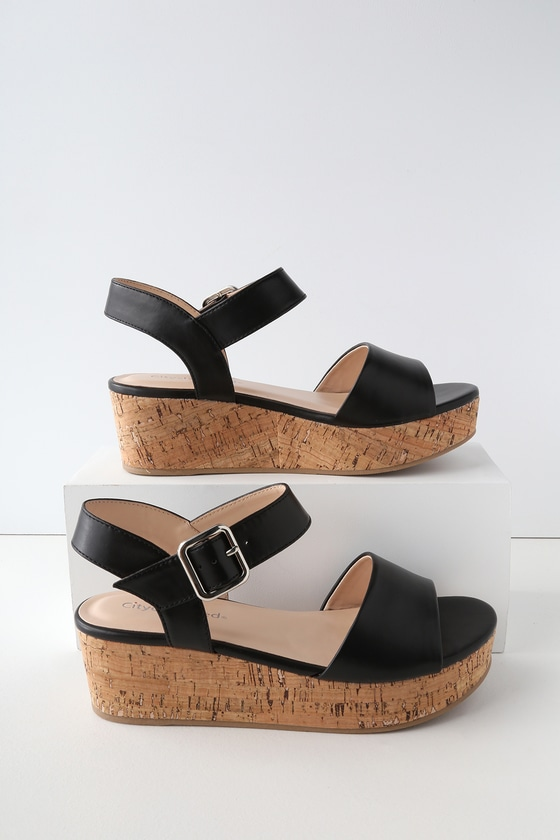 7b437a0347d9 Cute Black Cork Wedges - Cork Wedge Sandals - Black Wedges
