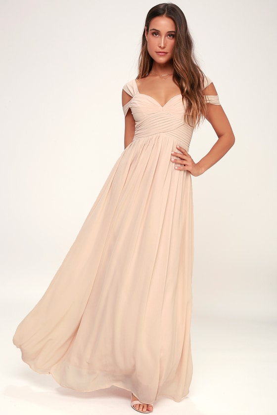 blush maxi dress bridesmaid