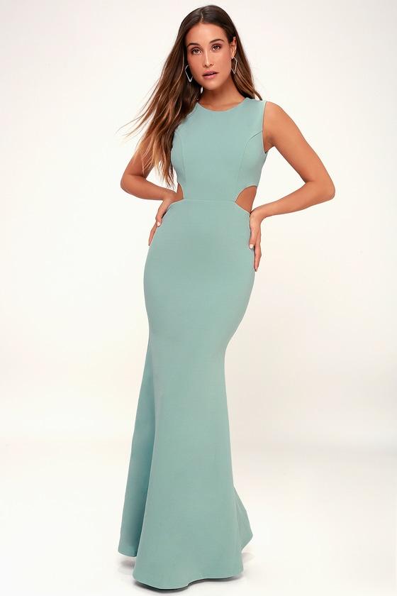 Utterly Smitten Dusty Sage Cutout Maxi Dress - Lulus
