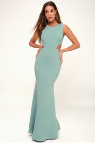 Utterly Smitten Dusty Sage Cutout Maxi Dress 639e7a046207