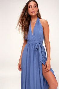 2f854d2bd71 Navy Blue Dress - Polka Dot Dress - Off-the-Shoulder Maxi