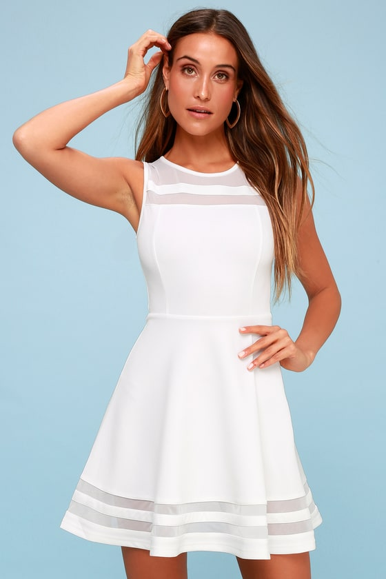 6787a2165a Cute Ivory Skater Dress - White Homecoming Dress  48.00