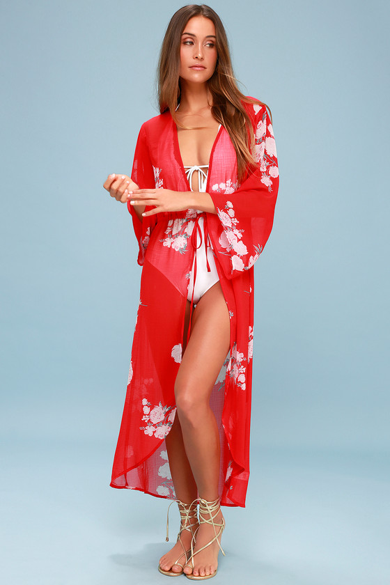 9a01c939ba Fun Swim Cover-Up - Red Floral Swim Cover-Up - Red Kimono Top