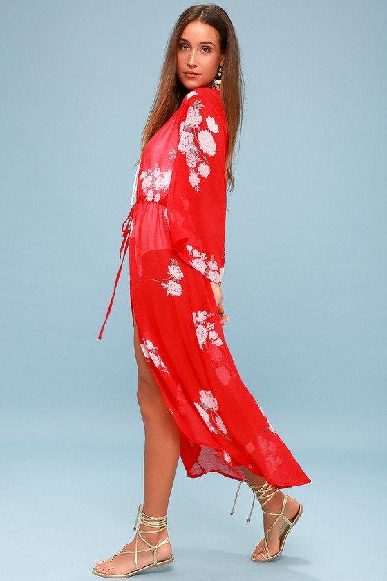 c9722b144d Fun Swim Cover-Up - Red Floral Swim Cover-Up - Red Kimono Top
