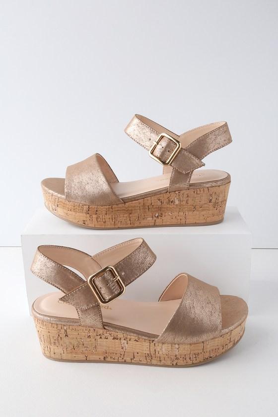 ee9cd8252a Shoptagr | Grecia Light Bronze Cork Wedge Sandals by Lulus