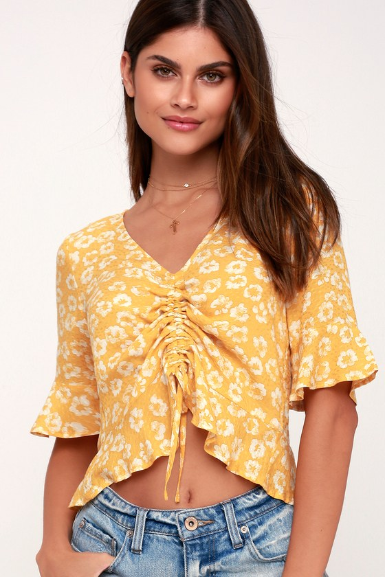 Fleur You In Mustard Yellow Floral Print Ruched Crop Top by Lulus