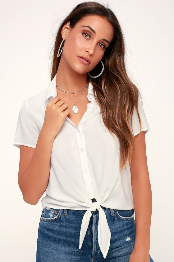 e4e08d9178259 Chic White Button-Up Top - White Tie-Front Top - Crop Top
