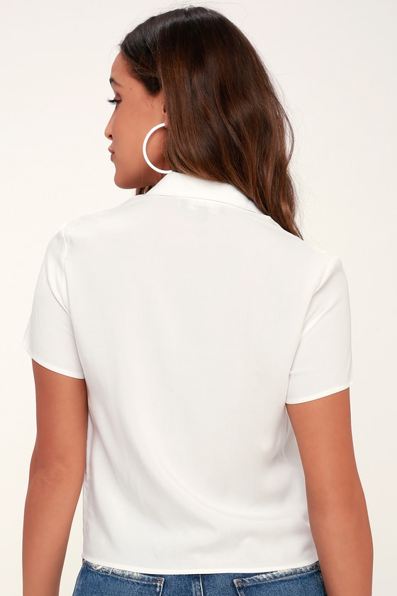 41e22946fe Chic White Button-Up Top - White Tie-Front Top - Crop Top