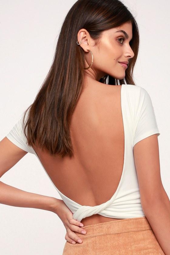 Cute White Bodysuit - Backless Bodysuit - White Twisted Bodysuit b881e641f