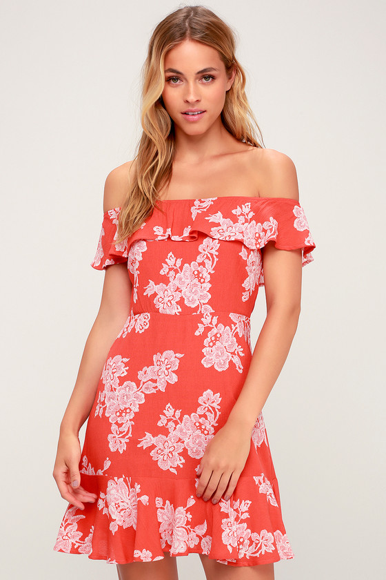 d41c170e0e0 Cute Pink Dress - Floral Print Dress - Off-the-Shoulder Dress