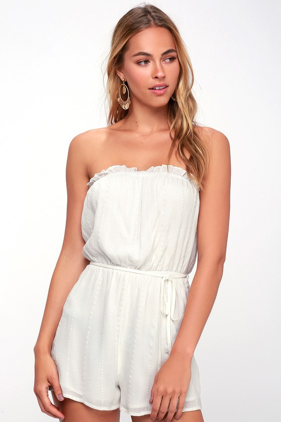Days Delight White Eyelet Swim Romper Cover Up by Lulus
