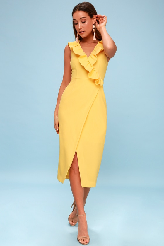 Miss Me Yellow Ruffled Midi Dress by Keepsake