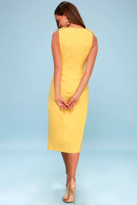 d328ff24b Keepsake Miss Me - Yellow Dress - Midi Dress - Ruffled Dress