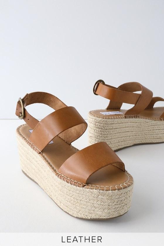 6253b76ef66 Steve Madden Cali - Leather Platform Sandals - Espadrille Sandals