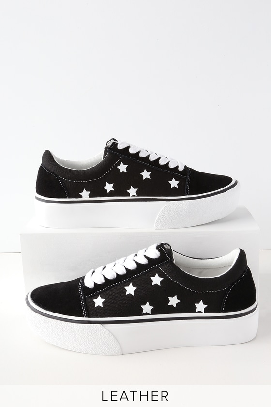 Lulus Emile Suede Leather Star Print Sneakers - Lulus sHa56SI