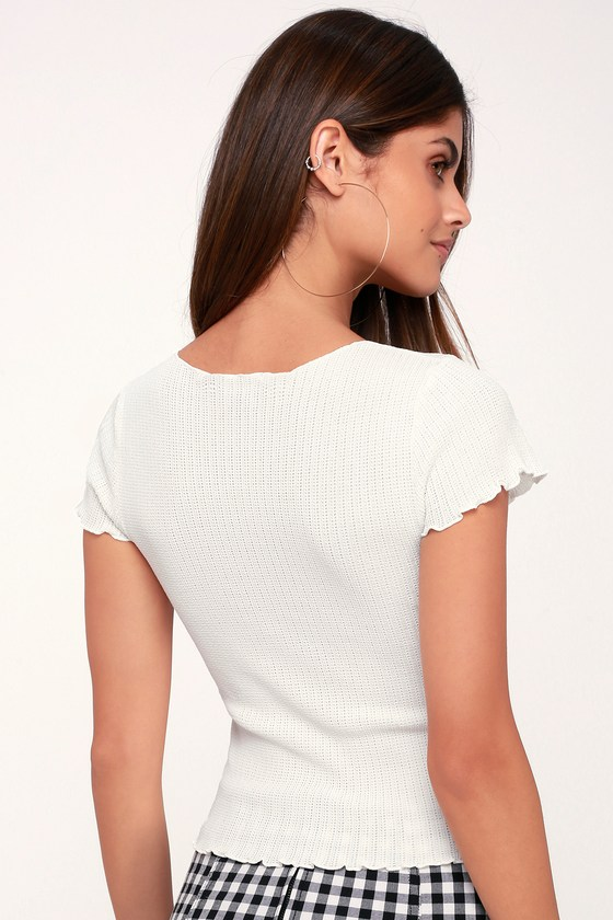 ba5f54e35219 Cute White Tee - White Knit Tee - Lettuce Edge Tee - Sweater Top