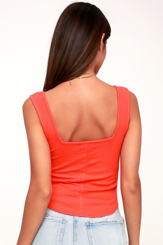 228c03b4682435 Coral Red Ribbed Tank Top - Cropped Tank Top - Notched Tank Top