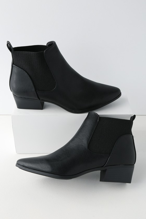 Claude Black Pointed Toe Ankle Booties by Lulu's
