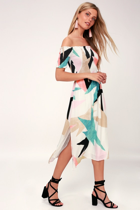 Shape Of Love White Print Smocked Off The Shoulder Midi Dress by Lulus