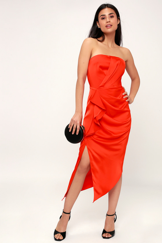 No Less Coral Orange Satin Ruffled Strapless Midi Dress - Lulus