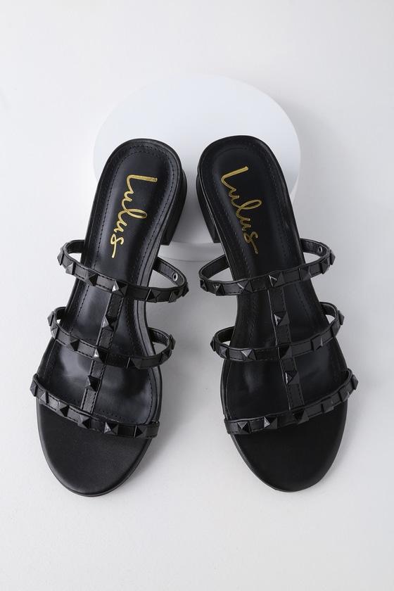 e6f3527ad7f00 Cute Studded Sandals - Black Sandals - Slide Sandals