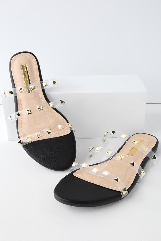 8684fb12f9e4 Cool Black Slides - Studded Slides - Vinyl Slides - Slide Sandals