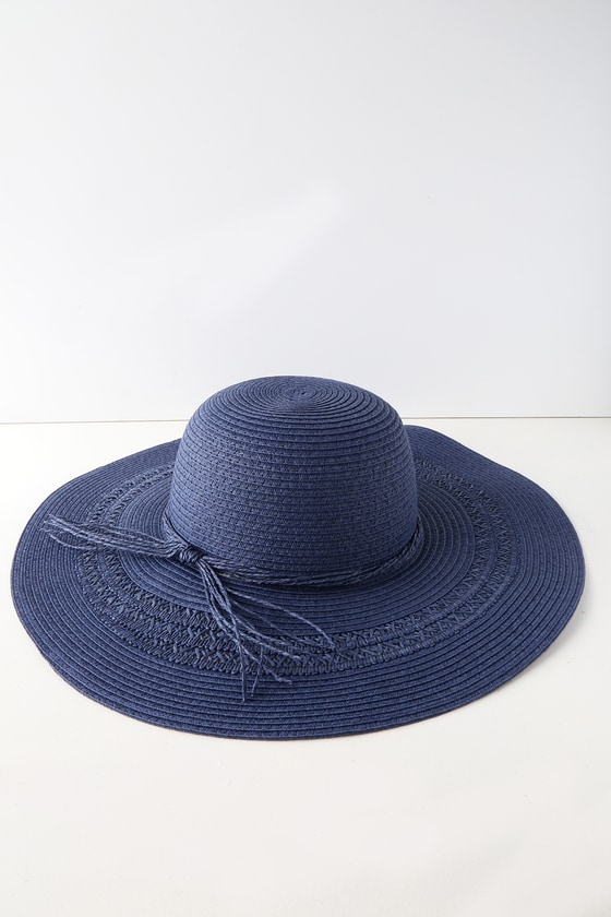 BYRON BAE NAVY BLUE STRAW FLOPPY SUNHAT