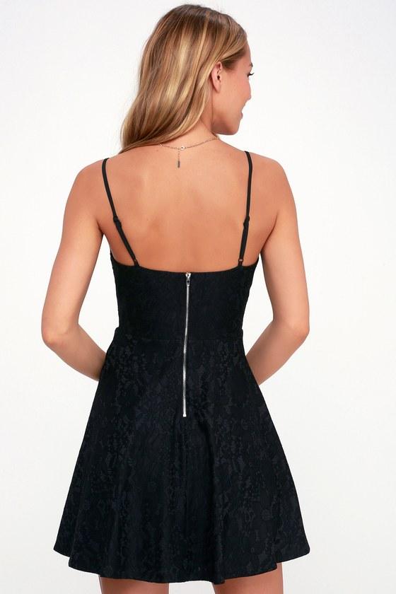 583e678a22 Chic Black Dress - Black Skater Dress - Black Lace Dress - LBD
